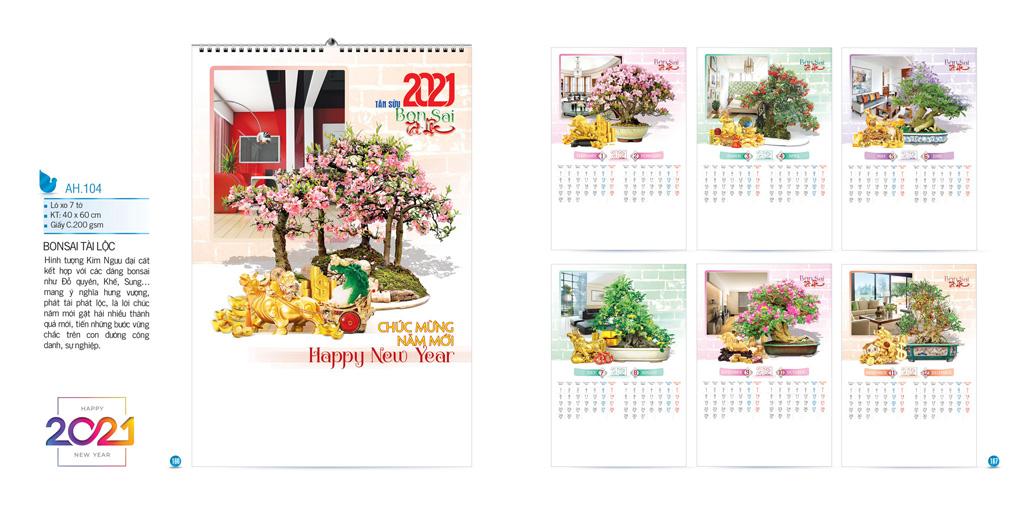 Mẫu lịch Bonsai tân sửu 2021