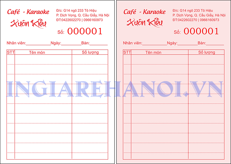 Mẫu Order Karaoke- Cafe Xuân Kiều