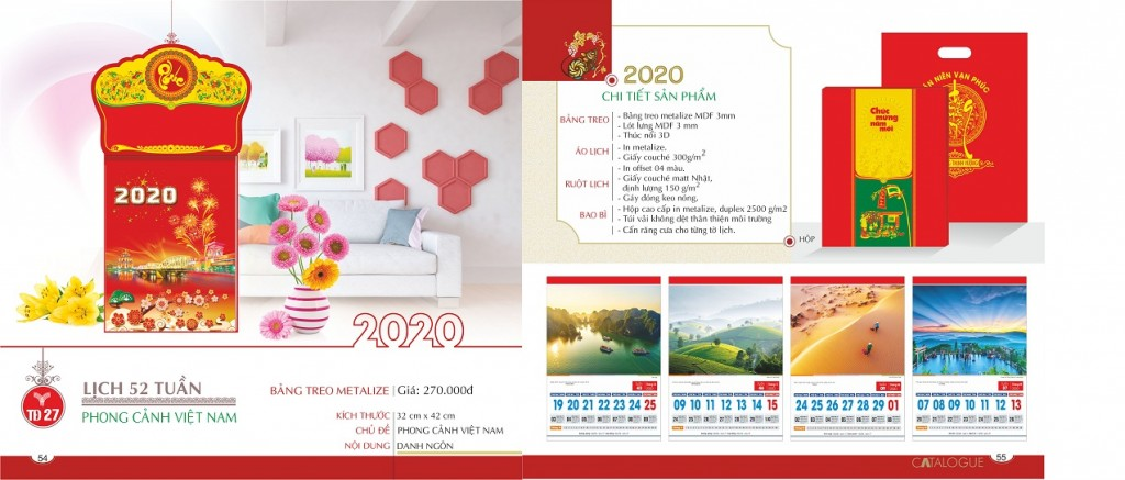 lịch 52 tuần 2020