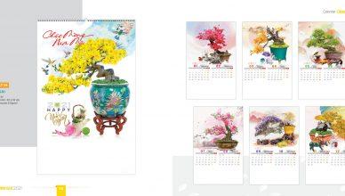 Mẫu lịch Tết 2021 Bonsai cây cảnh