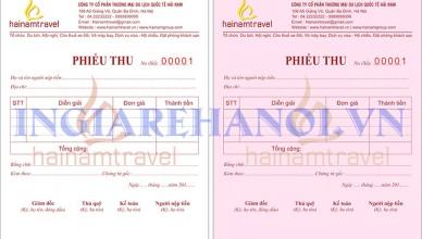 Mẫu phiếu thu Hainam Travel